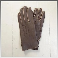 Vintage 1980s Dark Brown Leather Gloves with Exposed Seam Allowances