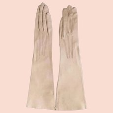 Vintage 1920s Mocha Bone Tan Ecru Beige Leather Gloves NOS Excellent Made in France