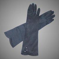 Vintage 1960s Three Quarter Length Black Kerrybrooke Gloves 6 1/2