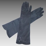 Vintage 1960s Three Quarter Length Black Kerrybrooke Gloves 6 1/2
