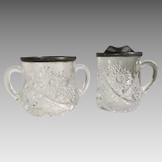 Late 1800s Glass Star Sunburst Sugar and Creamer Set with Metal Rims