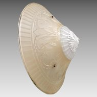 Vintage 1930s Peach and White Glass Cone Shaped Ceiling Light Cover with Paisley Design Elements