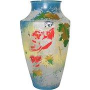 Vintage Art Nouveau Poppy Motif Goofus Glass Blue Gold Red and Green