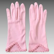 Vintage 1960s Pastel Pink Cafe Gloves with Embroidered Flower Hems S
