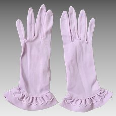 Vintage 1960s Sheer Lavender Gloves with Ruffled Hems