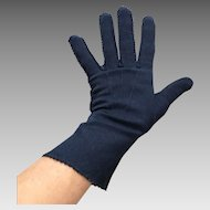 Vintage 1940s Dark Midnight Blue Soft Gloves M L