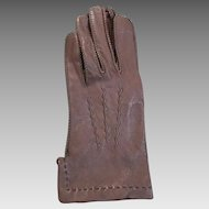 Vintage Brown Leather Dress Gloves With Whipstitched Seams and Zig Zag Backs S M