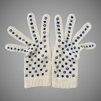 Vintage Cream Open Knit Gloves with Blue Squares Design