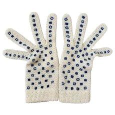 Vintage Cream Open Knit Gloves with Blue Squares Design