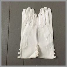 Vintage 1960s Italian Anticoli Mod White Kid Leather Gloves Peekaboo Sides NOS 7
