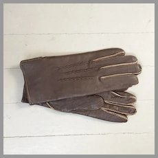 Vintage 1980s Cozy Dark Brown Leather Gloves with Exposed Seam Allowances NOS
