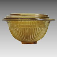 Vintage 1930s Set of Four Golden Glo Ribbed Federal Glass Nesting Mixing Bowls