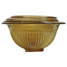 Vintage 1930s Set of Four Golden Glo Amber Ribbed Federal Glass Nesting Mixing Bowls