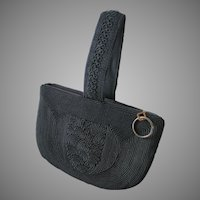 Vintage 1940s Black Corde Braid Evening Handbag Wrist Bag Purse