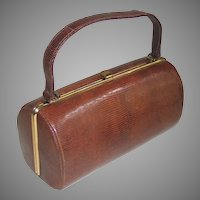 Vintage 1960s Cylindrical Brown Reptile Snake Leather Handbag Purse