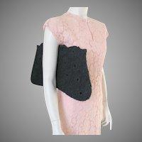 Vintage 1940s Enormous Black Corde Crocheted Purse Envelope Handbag