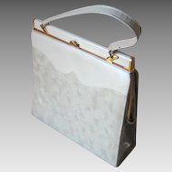 Authentic Vintage 1960s Ivory Marble Luggage Look 2 Tone Purse Handbag