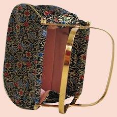 Vintage 1970s Sparkling Dark Floral Brocade Evening Handbag with Unique Frame