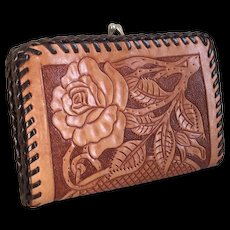 Vintage 1970s Tooled Coin Purse Wallet with Rose Design and Whip-stitching