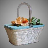Vintage Aqua Blue Beach Wood Box Handbag Purse Orange Sherbet Pistachio Flower Top  Cream Rope Wrap