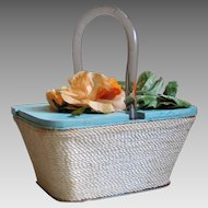 Vintage Aqua Blue Beach Wood Box Handbag Purse Orange Sherbet Pistachio Flower Top  Cream Rope Wrap