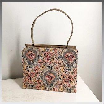Vintage 1960s Cocoa Gray Copper Autumn Tapestry Brocade Kelly Handbag Purse