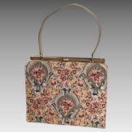 Vintage 1960s Cocoa Gray Copper Autumn Tapestry Brocade Kelly Handbag Purse