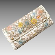 Vintage 1960s Quilted and Embroidered White with Pastel Flowers Summer Clutch Handbag Purse from Brazil