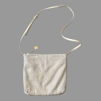 Vintage 1980s Cream Whiting & Davis Mesh Shoulder Bag Purse