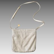 Vintage 1980s Cream Whiting & Davis Mesh Shoulder Bag Purse