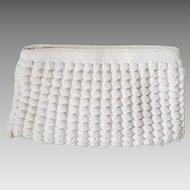 Vintage 1960s Corde Crochet Summer Clutch Purse Creamy White