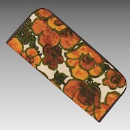 Vintage 1960s Floral Print Envelope Purse Organizer Orange Olive Avocado Green Brown
