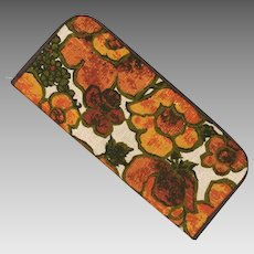 Vintage 1960s Floral Print Envelope Purse Organizer Orange Olive Avocado Green Brown