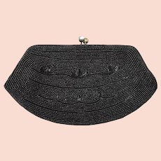 Vintage 1960s Small Black Beaded Evening Bag Clutch Purse