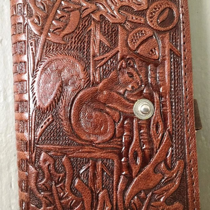 3cc3c31e4f66 Vintage 1950s Tooled Leather Wallet with Squirrel and Oak Leaves Design