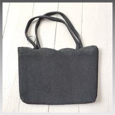 Vintage 1940s Black Corde Handbag Evening Bag