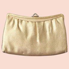 Vintage 1960s Gold Lurex Handbag Purse Clutch Evening Bag