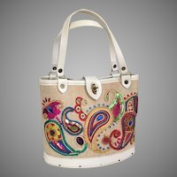 Vintage 1960s Bright Paisley Craft Handbag Fauxnid Purse