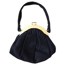 1940s Vintage Black Soft Fabric Slouch Handbag Koret with Matching Coin Purse
