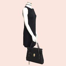 Vintage 1960s Foulard Lined Huge Black Leather Textured Vinyl Handbag