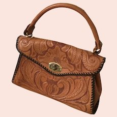 Vintage 1950s Tooled Leather Purse Handbag Canyon Tan with Brown Whip Stitch Edging
