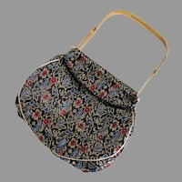 Vintage Black Gold Red and Blue Brocade Evening Handbag with Unique Frame
