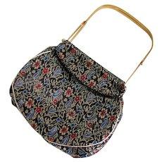 Vintage Black Gold Red and Blue Brocade Evening Handbag with Unique Frame