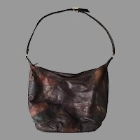 1970s Vintage Brown Leather and Suede Patchwork Pouch Purse Shoulderbag