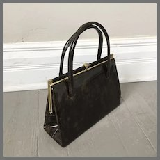 Vintage 1960s Brown Gold Marble Look Patent Leather Kelly Handbag Purse
