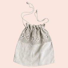 Early 1900s Linen Muslin Summer Handbag Purse with Crochet Trim