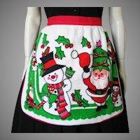 Vintage 1960s Holiday Novelty Print Apron Santa and Snowman