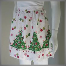 Vintage 1960s Novelty Print Christmas Trees Holiday Apron Red Green Pink and White