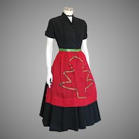Vintage Red Organdy & Green Satin Ribbon Holiday Apron with Jingle Bells
