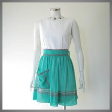 Vintage 1960s Sheer Green Apron with Holly Red Ric Rac Trim